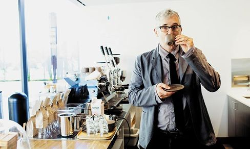 Freeman in San Francisco sips a macchiato from a demitasse he helped design