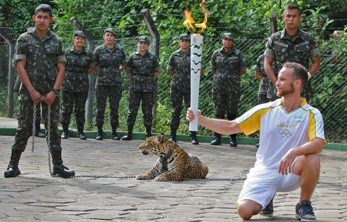 Jaguar before being shot dead during a ceremony in Manaus, on June 20.