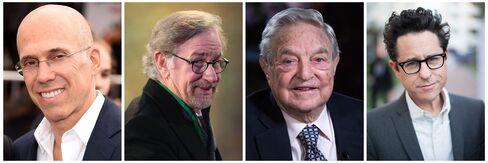 From Left: Jeffrey Katzenburg, Steven Spielberg, George Soros, J.J. Abrams