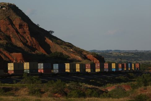 Containers on a train traveling on BNSF's Southern Transcontinental line in Belva, Oklahoma.