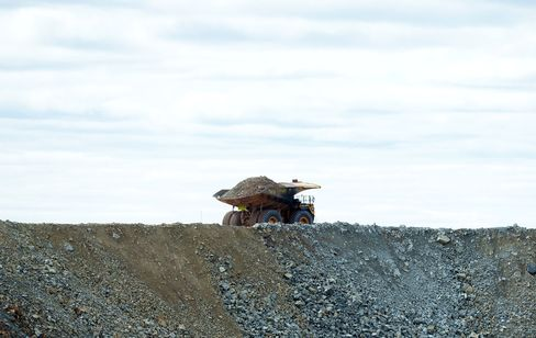 A dump truck loaded with ore at Norton Gold Fields Ltd. Enterprise operations, north-west of Kalgoorlie, Australia.