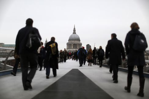 Commuters Walk Towards St. Paul's Cathedral in London