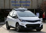 A Chevrolet Bolt with self-driving technology outside of the General Motors Orion Assembly Plant in Orion Township, Michigan.
