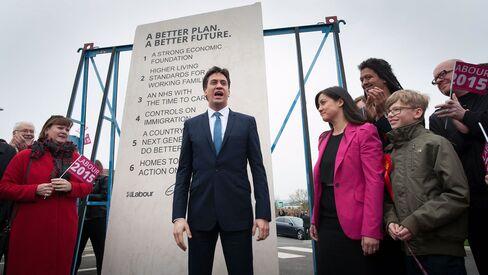 Ed Miliband unveils Labour Party pledges carved into a stone plinth