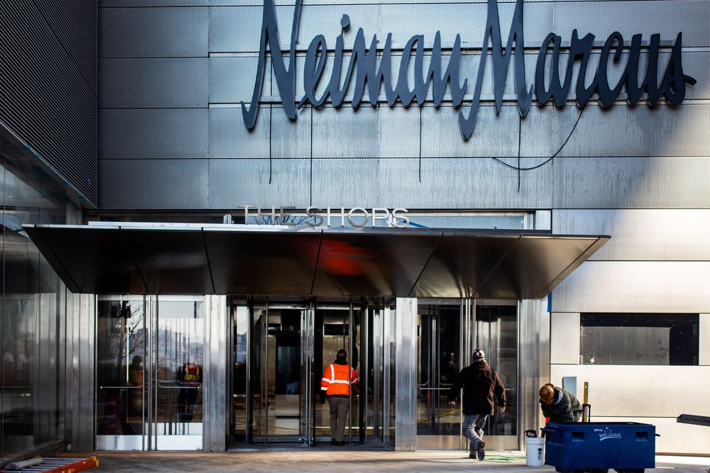 7400db21c4f1 A contractor enters a Neiman Marcus Group Ltd. store at the Hudson Yards  development in