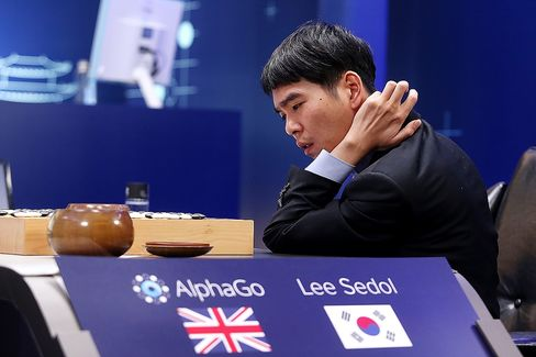 Lee Sedol goes up against Google's AI, AlphaGo, in March 2016.