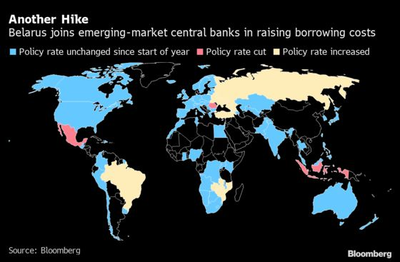 Belarus Joins Emerging-Market Interest Rate Hike Club