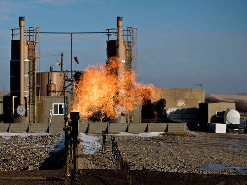 A crude oil facility outside Williston, North Dakota, on Feb. 12