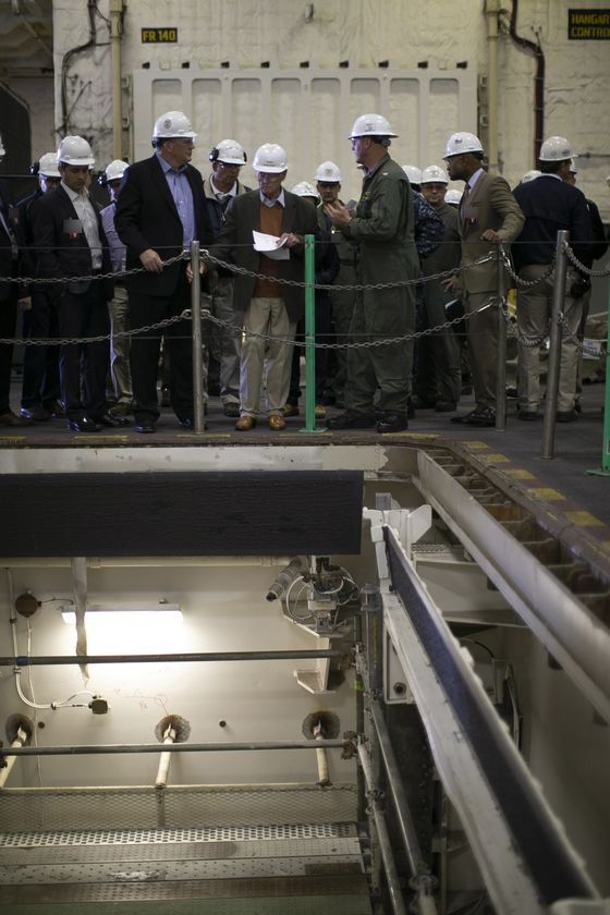 Flawed Bomb Elevators Leave Inhofe Leery of Buying Two Carriers
