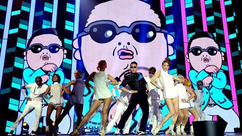 Singer Psy performs 'Gangnam Style' in Frankfurt, Germany.