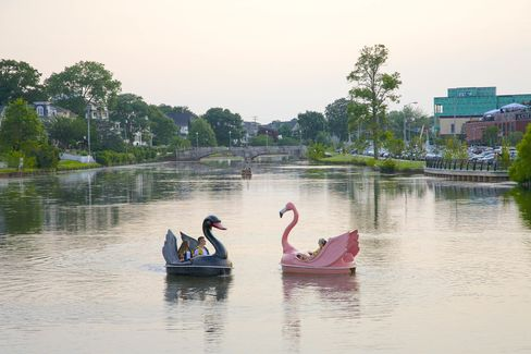 Swan pedal boats in one of two man-made lakes in Asbury Park.