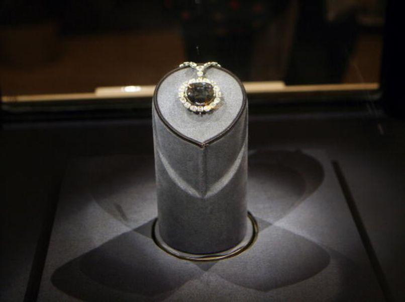 The Hope Diamond sits on display at the Smithsonian Museum o