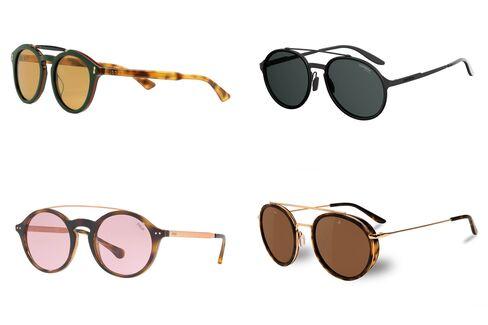 (左上から時計回りに)グッチ(280ユーロ)、カレラ(159ドル)、ヴュアルネ(320ドル)、ポロ・ラルフ・ローレンの丸フレームのツーブリッジ・サングラス(199ドル)