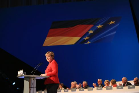 Angela Merkel, at the CDU party conference in Essen, Germany