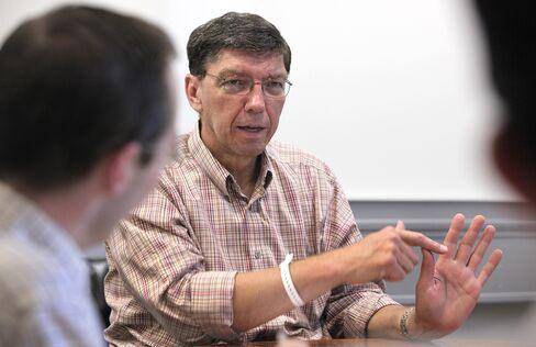 Harvard Business School Professor Clay M. Christensen Meets With Research Assistants
