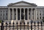 The U.S. Department of the Treasury building stands in Washington, D.C., U.S..