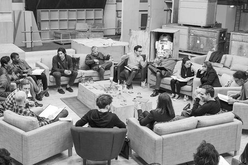 Writer/Director/Producer Abrams (top center right) at the cast read-through of Star Wars Episode VII at Pinewood Studios, with (clockwise from right) Harrison Ford, Ridley, Carrie Fisher, Mayhew, Producer Bryan Burk, Lucasfilm President and Producer Kathleen Kennedy, Gleeson, Daniels, Mark Hamill, Serkis, Isaac, Boyega, Driver, and Writer Lawrence Kasdan on April 29
