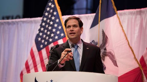 Senator Marco Rubio speaks during the Iowa Faith & Freedom Coalition presidential forum at Point of Grace Church in Waukee, Iowa, on April 25, 2015.