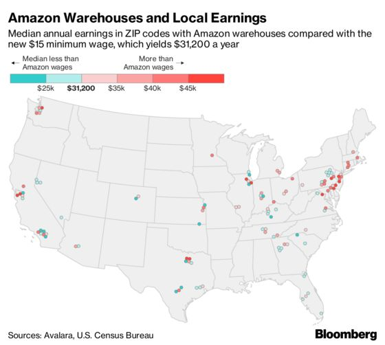 New Amazon Minimum Wage Is Below Median Pay in Most Areas