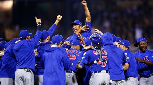The Chicago Cubs celebrate defeating the Pittsburgh Pirates to win the National League Wild Card game at PNC Park on Oct. 7, 2015 in Pittsburgh, Pennsylvania.