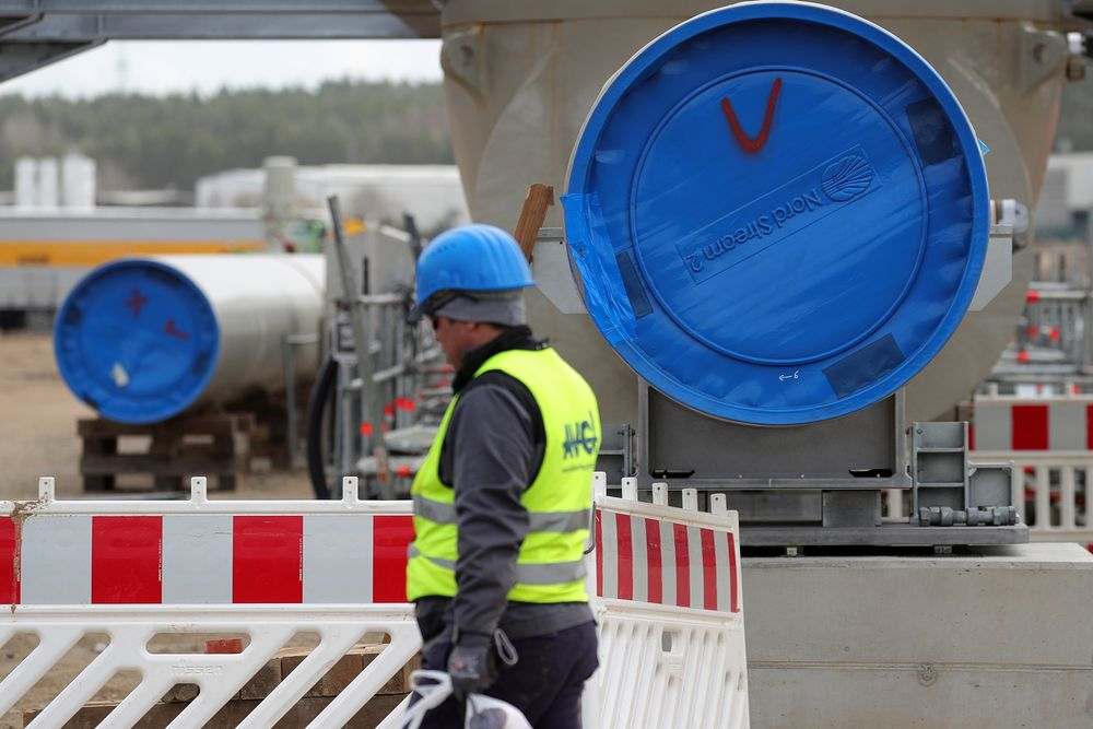 A section of pipe at the landing site of Nord Stream 2 gas pipeline, operated by Gazprom PJSC, in Lubmin, Germany.