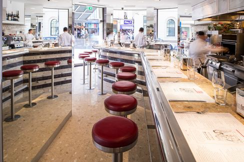 The counter-style dining room of Barrafina. Come early as they don't accept reservations.