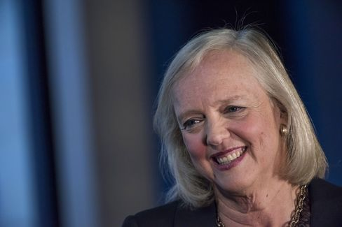 Meg Whitman, chief executive officer of Hewlett-Packard Co., smiles during a Bloomberg Studio 1.0 interview.