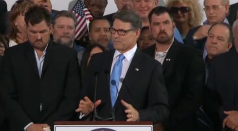 Rick Perry, center, announces his presidential campaign on June 4, 2015, near Dallas, Texas.