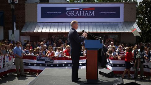 Senator Lindsey Graham announces his presidential campaign onJune 1, 2015, in Central, South Carolina.