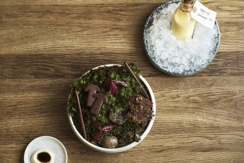 A Noma classic: chocolate-coated mushrooms alongside chocolate-covered moss.