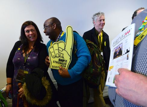 SNP party supporters wait in line to enter the conference hall during the Scottish National Party (SNP), Spring Conference ahead of the 2015 General Election at the SECC on March 28, 2015 in Glasgow, Scotland.