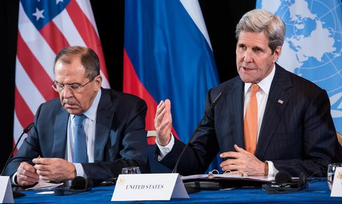 Russian Foreign Minister Sergey Lavrov and U.S. Secretary of State John Kerry at a news conference in Munich, Germany.