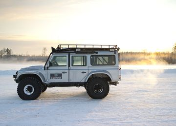 The Defender Big Foot Series of trucks is modified by Land Rover Special Vehicles. This one was used recently on the ice fields of Finland.