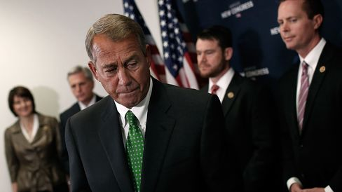 Speaker of the House John Boehner (R-OH) departs after answering questions during a press conference at the U.S. Capitol January 7, 2015 in Washington, DC