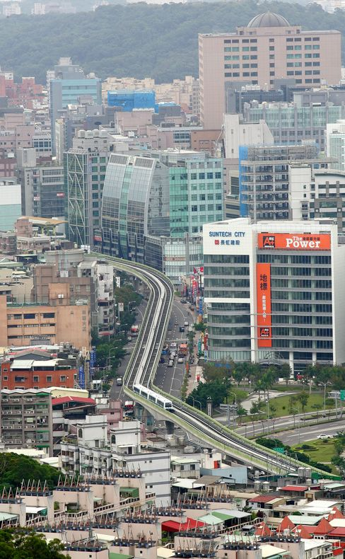An elevated view of Taipei