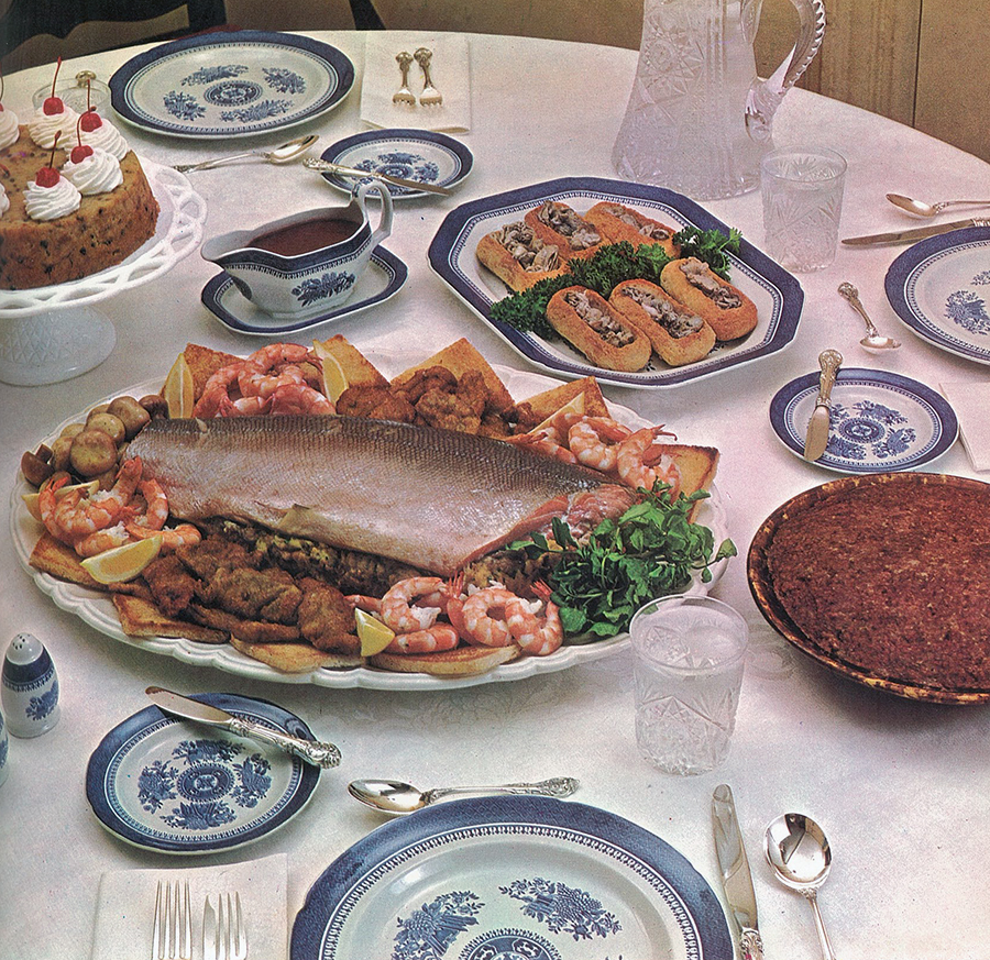 Baked Salmon with Oyster Stuffing