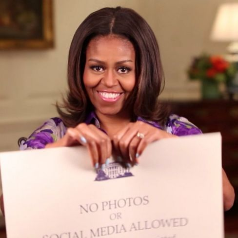 First lady Michelle Obama is seen in an Instagram video announcing the end of the photo prohibition on White House tours on July 1, 2015.
