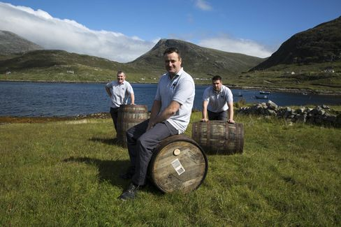 A few of the Harris distillers from the warehouse at Ardhasaig, overlooking the North Harris Hills and the Atlantic Ocean.