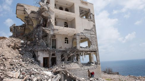 Presidential Palace in Aden, Yemen, destroyed after four months of bombing during the war.