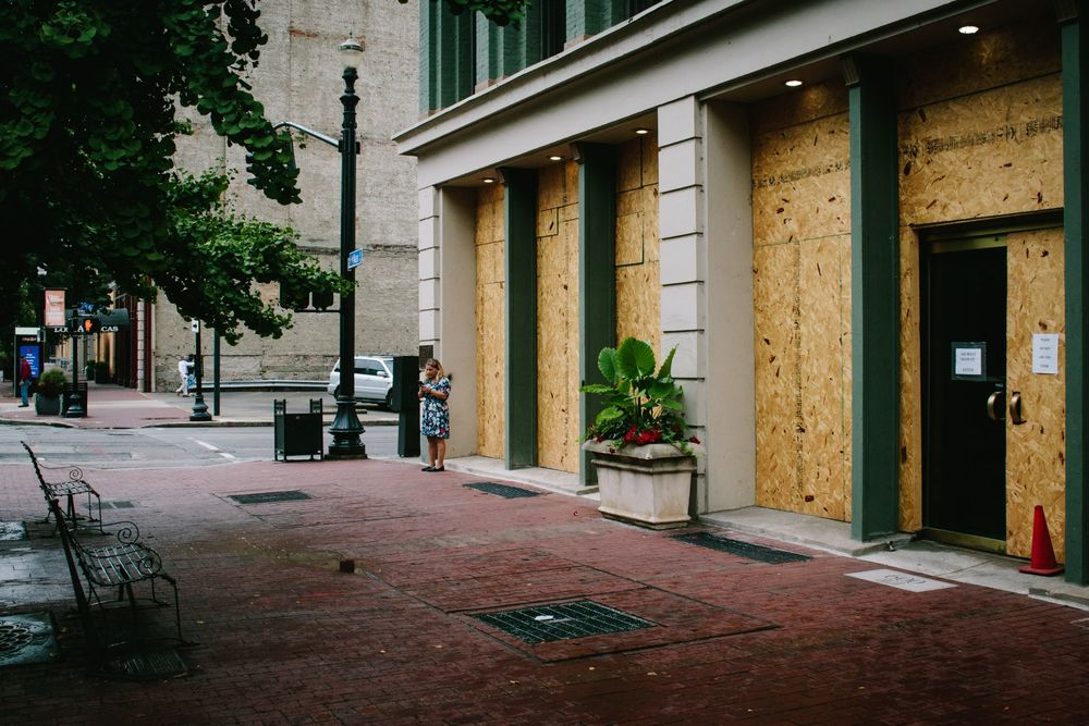 A boarded up building in downtown Louisville.