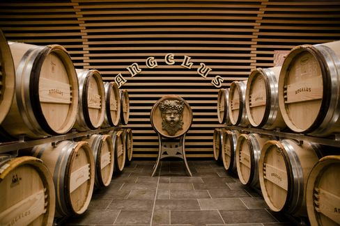 The barrel room at Angelus, where the wine is aged for 18 to 24 months in oak casks before being bottled.