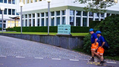 The entrance to Glencore International Plc's headquarters in Baar, Switzerland.