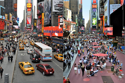 Times Square, before (left) ... and after (right)