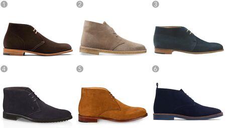 (1) Brown desert boots, Church's, $410, church-footwer.com;(2) Taupe desert boot, Clarks, $130, clarksusa.com;(3) Loxton boot, John Lobb, $1,510, johnlobb.com;(4) Lace-up ankle boots in suede, TOD'S, $545, tods.com;(5) Tan suede desert boots, Paul Smith, $495, paulsmith.co.uk;(6) Leather desert boots, Zara, $89.90, zara.com.