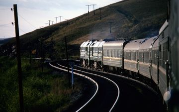 Russia, Trans-siberian Train In Siberia In Evening Light