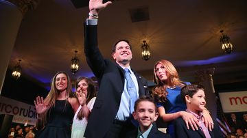 Senator Marco Rubio stands with his wife, Jeanette, and children after announcing his candidacy for the Republican presidential nomination on April 13, 2015, in Miami.