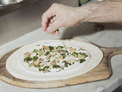 The clam pizza in progress.