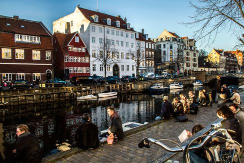The harbor canal in the Christians Havn district of Copenhagen.