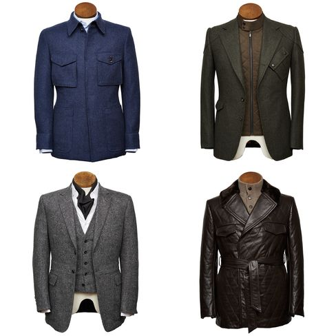 The Bentley-commissioned Savile Row jackets (clockwise from top left): designs by Dege & Skinner, Gieves & Hawkes, Huntsman, and Henry Poole