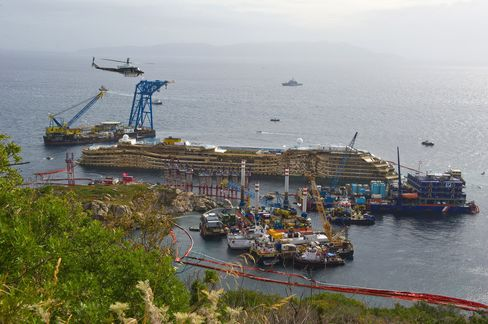 Costa Concordia Raised Off Rocks After 19-Hour Salvage Operation